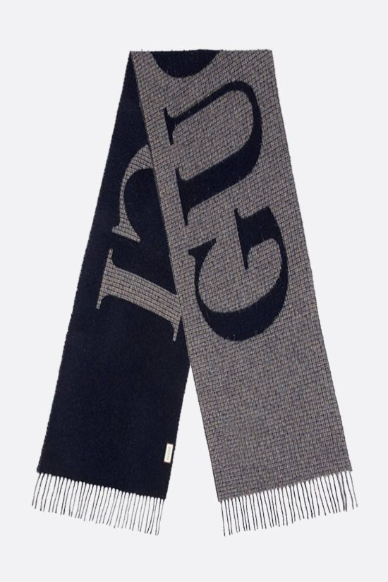 GUCCI: logo-detailed wool blend scarf Color Blue_2
