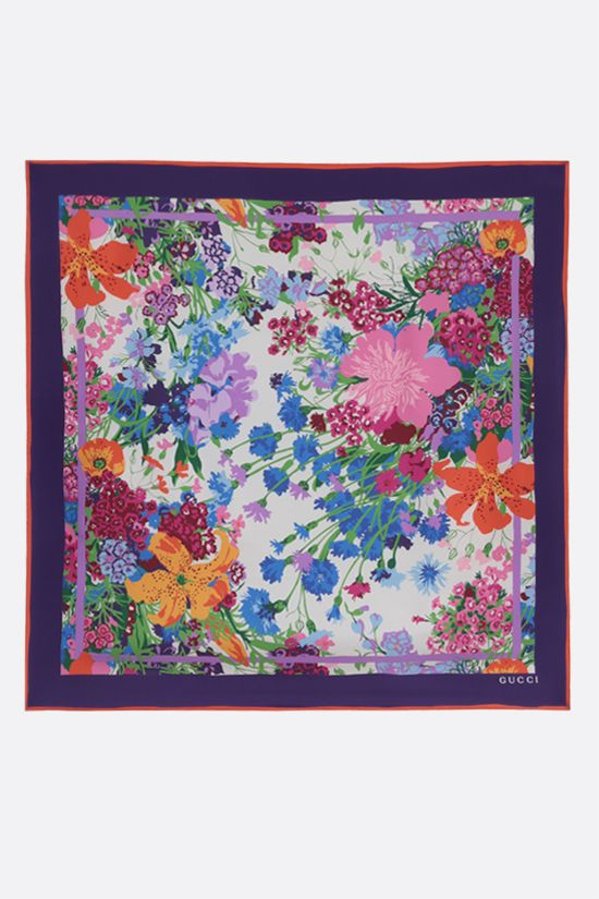 GUCCI: Garcia print silk twill foulard Color White_2