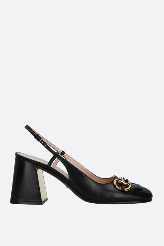 GUCCI: Horsebit-detailed smooth leather slingbacks Color Black_1
