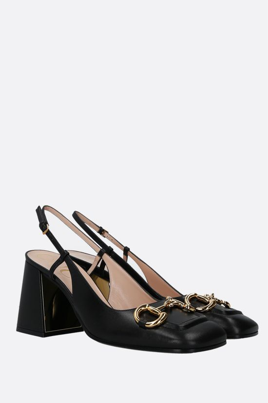 GUCCI: Horsebit-detailed smooth leather slingbacks Color Black_2
