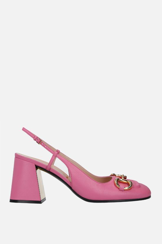 GUCCI: Horsebit-detailed smooth leather slingbacks Color Pink_1