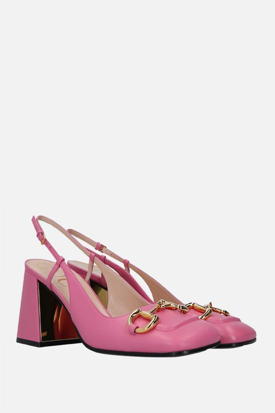 GUCCI: Horsebit-detailed smooth leather slingbacks Color Pink_2