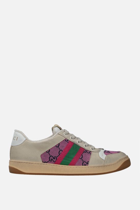 GUCCI: sneaker Screener in nabuk e canvas Colore Rosa_1