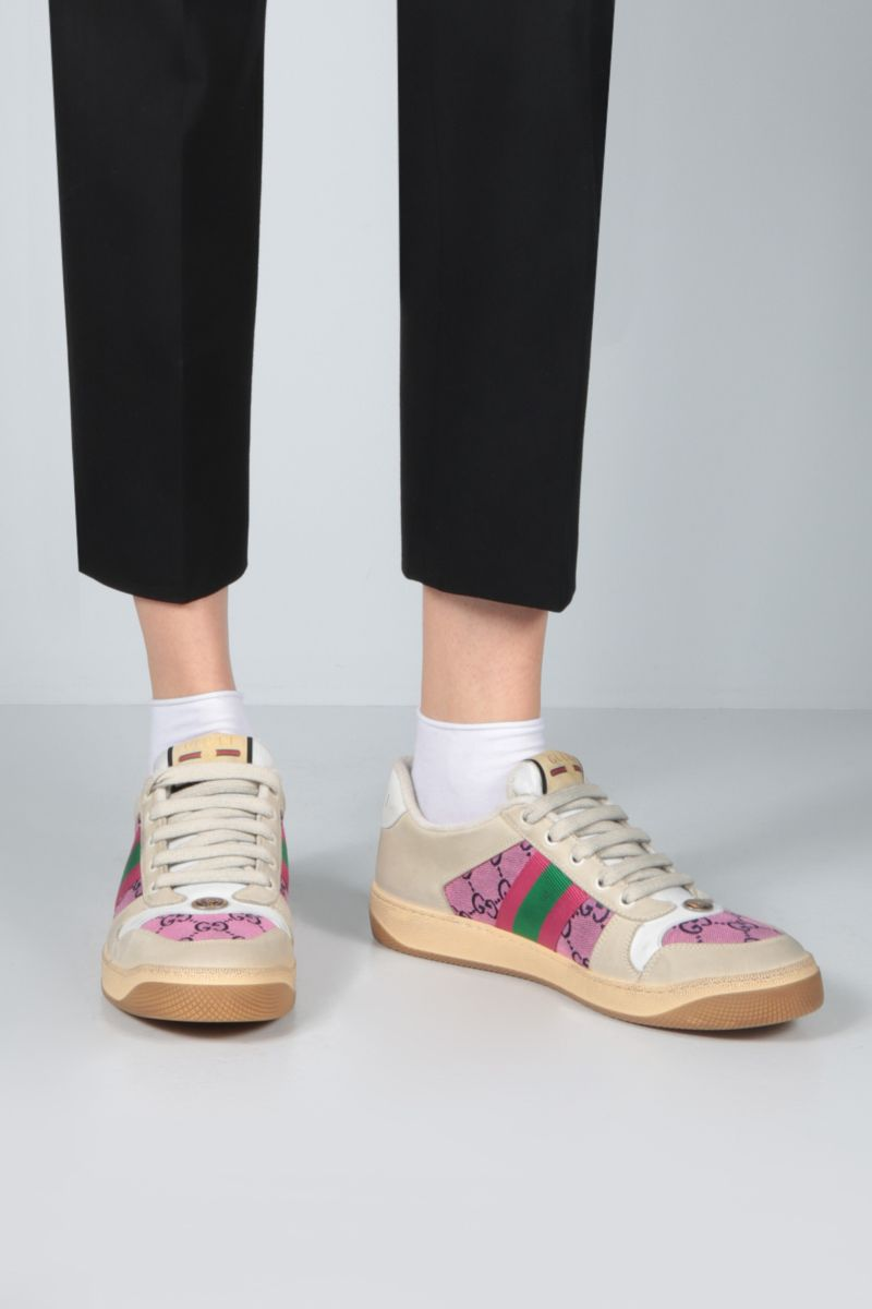 GUCCI: Screener nabuk and canvas sneakers Color Pink_2