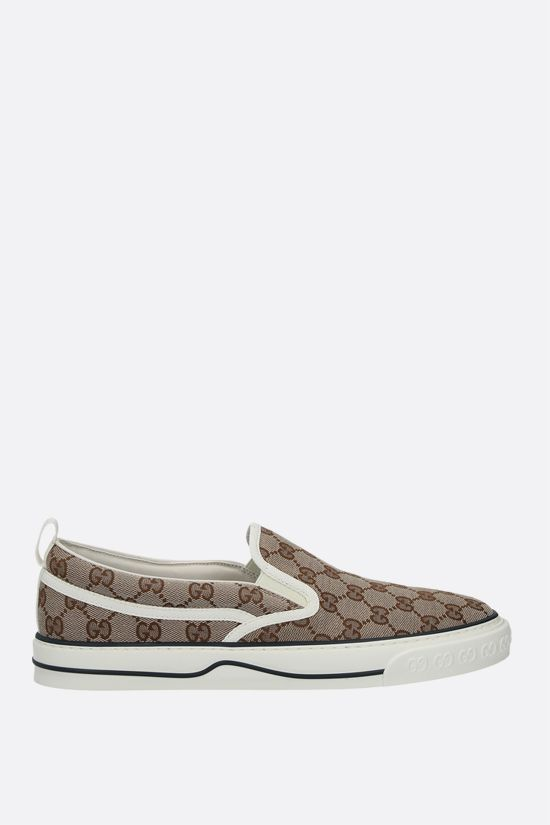 GUCCI: Gucci Tennis 1977 slip-on sneakers in Original GG canvas Color Neutral_1
