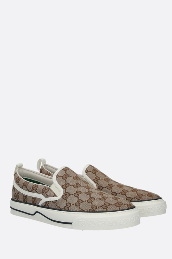 GUCCI: Gucci Tennis 1977 slip-on sneakers in Original GG canvas Color Neutral_2
