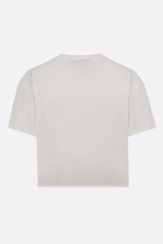 GUCCI: Gucci cherry embroidery cropped cotton t-shirt Color Yellow_2