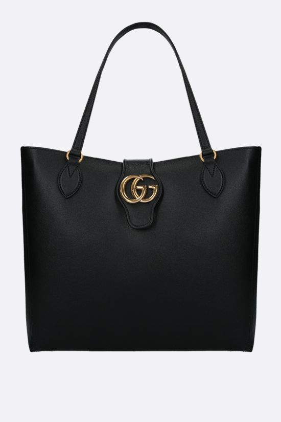 GUCCI: Dahlia medium smooth leather shopping bag Color Black_1
