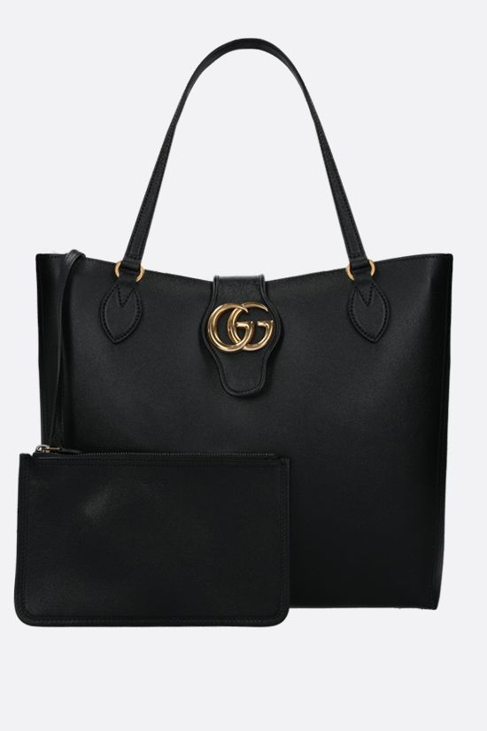 GUCCI: Dahlia medium smooth leather shopping bag Color Black_2