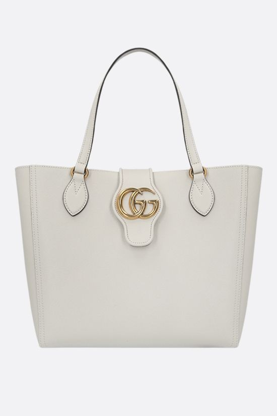 GUCCI: Dahlia small textured leather shopping bag Color White_1