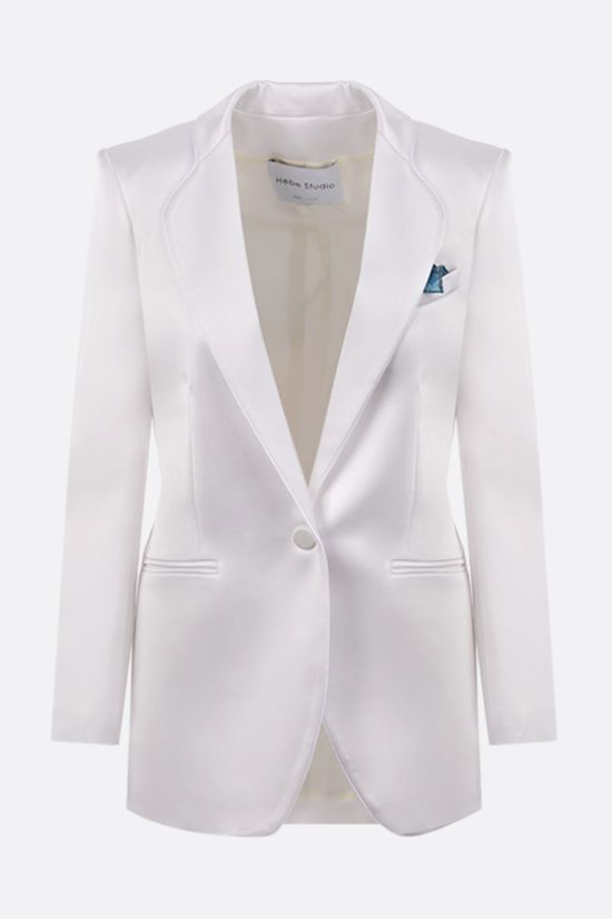HEBE STUDIO: Smoking single-breasted satin jacket Color White_1