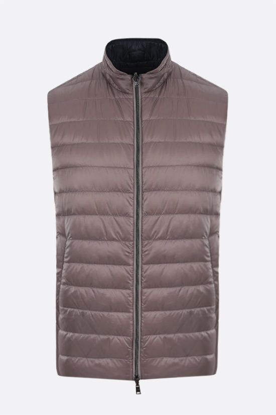 HERNO: reversible sleeveless down jacket in ultralight nylon Color Grey_1