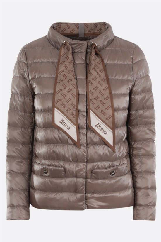 HERNO: foulard-detailed ultralight nylon down jacket Color Grey_1