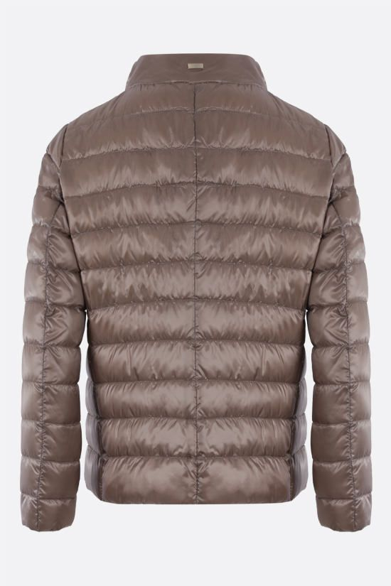 HERNO: foulard-detailed ultralight nylon down jacket Color Grey_2