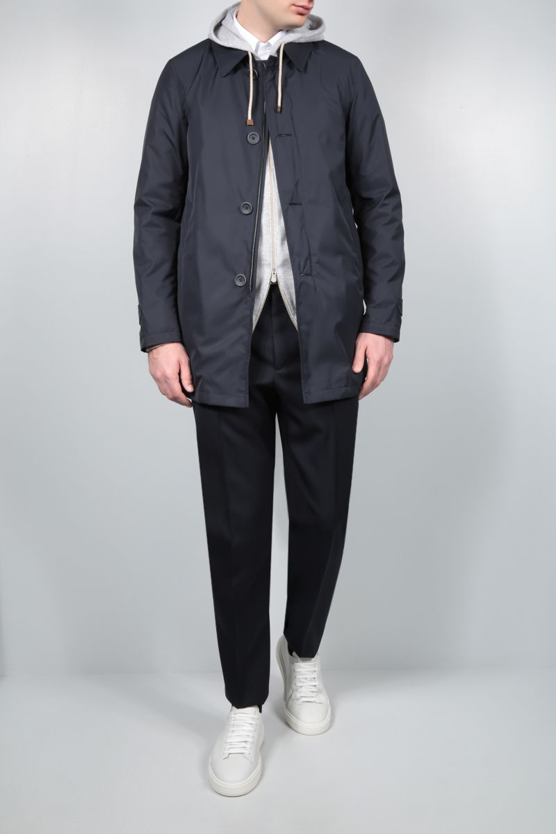 HERNO: Byron nylon single-breasted overcoat Color Blue_2