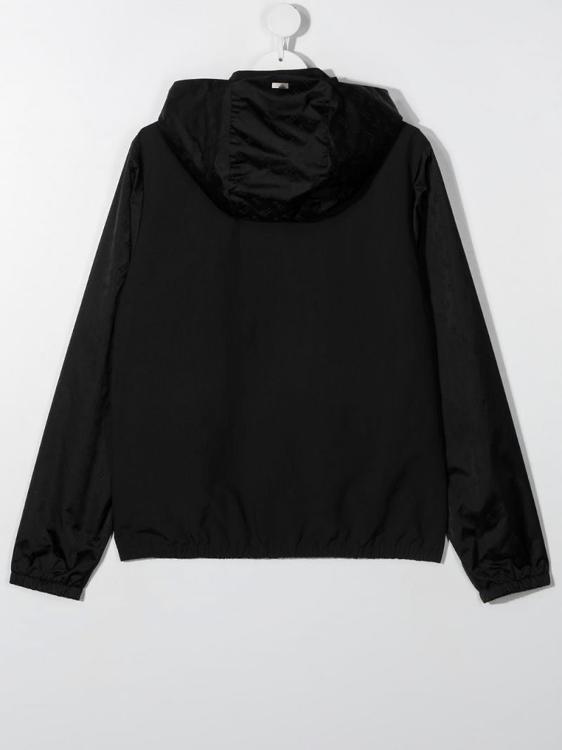 HERNO KIDS: logo-detailed nylon bomber jacket Color Black_2