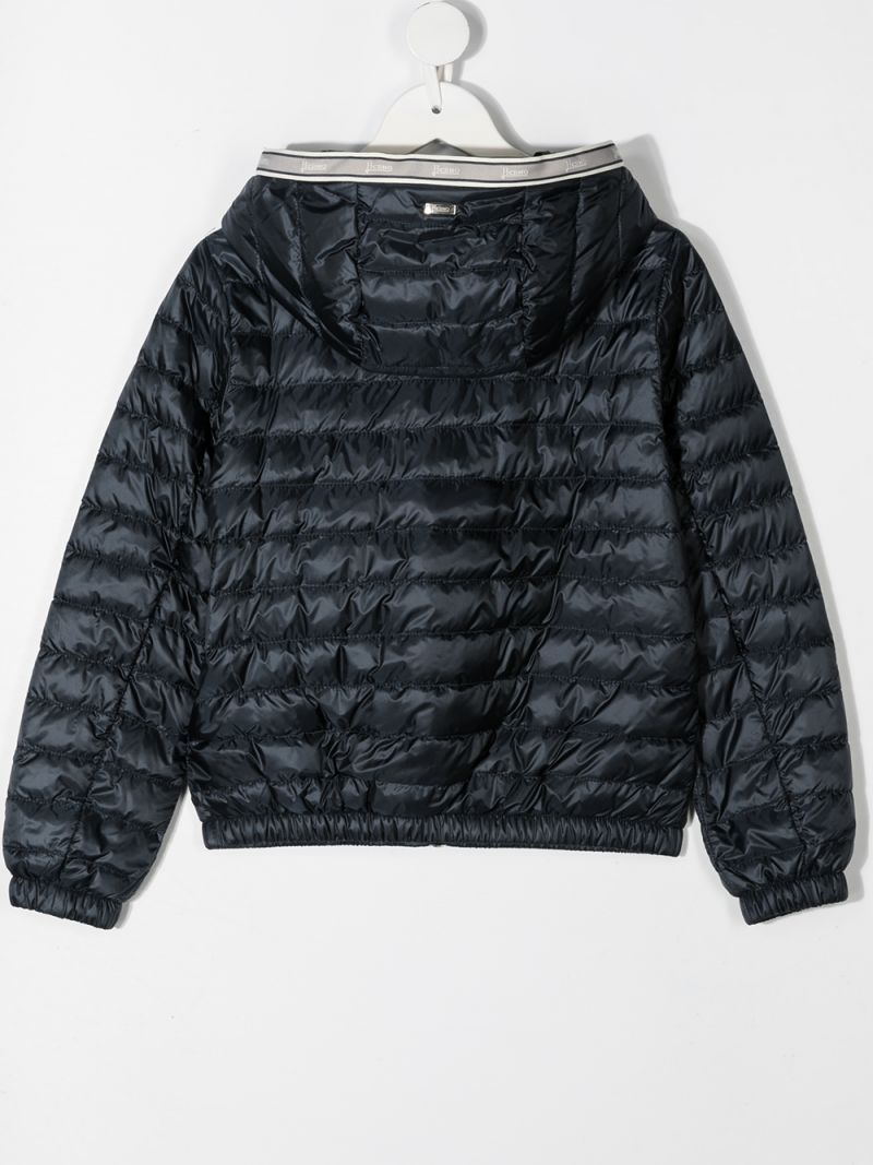 HERNO KIDS: logo ribbon-detailed nylon down jacket Color Blue_2