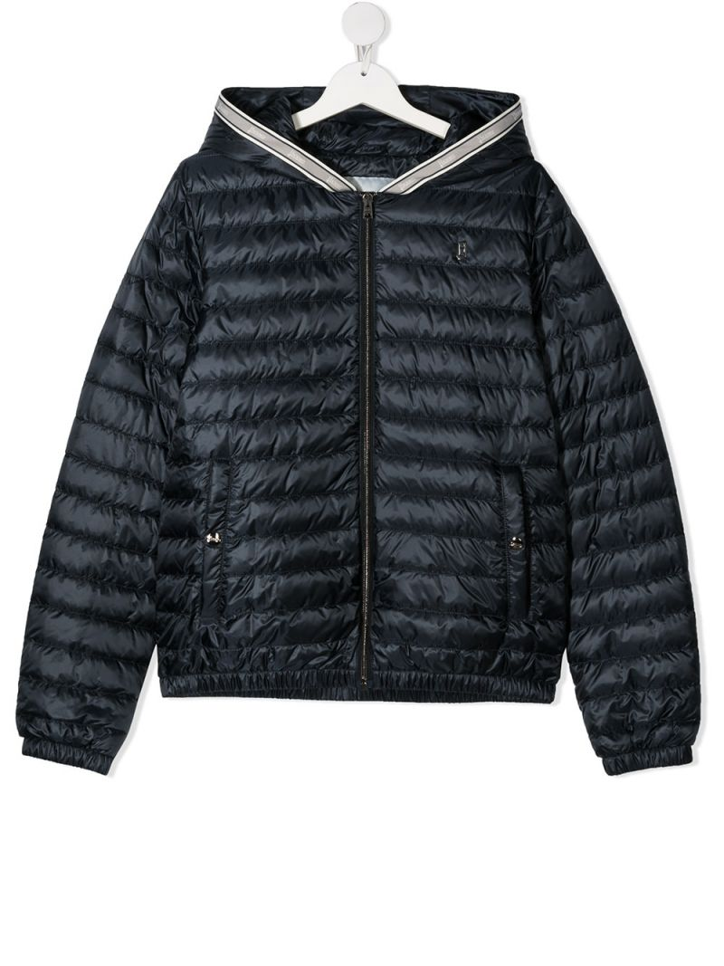 HERNO KIDS: logo ribbon-detailed nylon down jacket Color Blue_1
