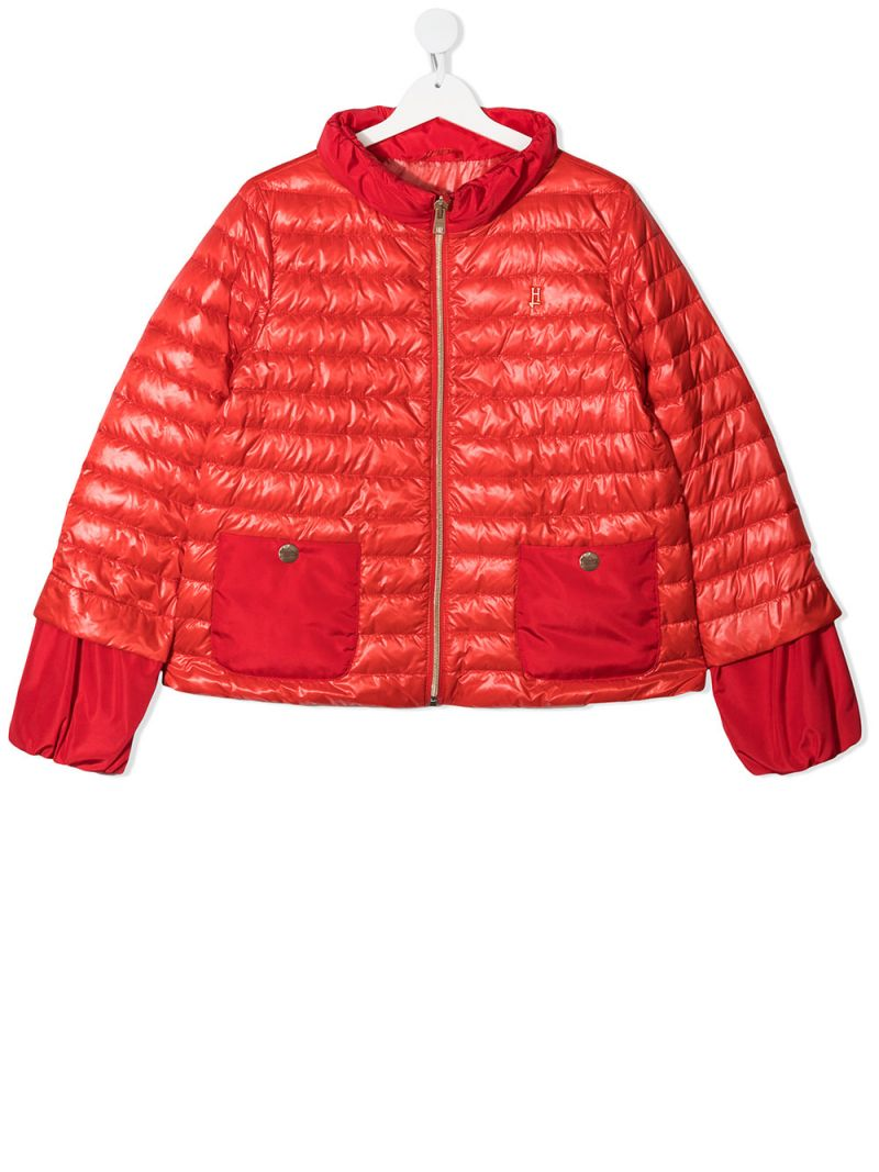 HERNO KIDS: logo-detailed nylon down jacket Color Red_1