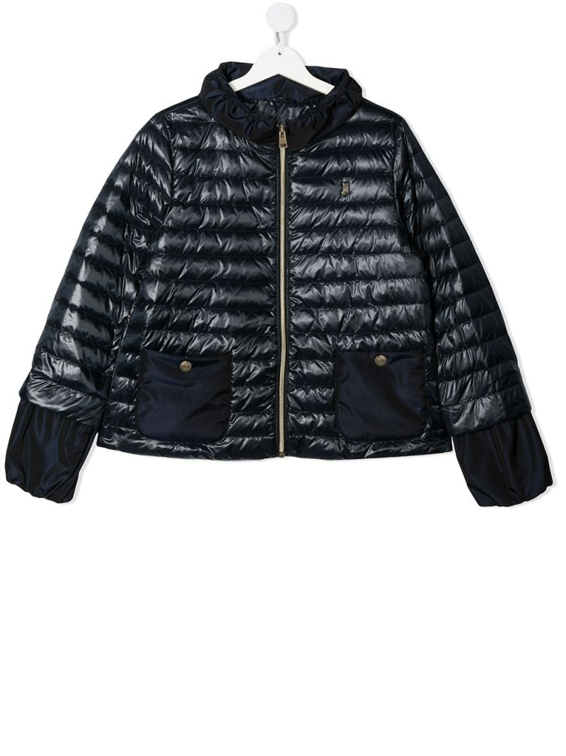 HERNO KIDS: logo-detailed nylon down jacket Color Blue_1