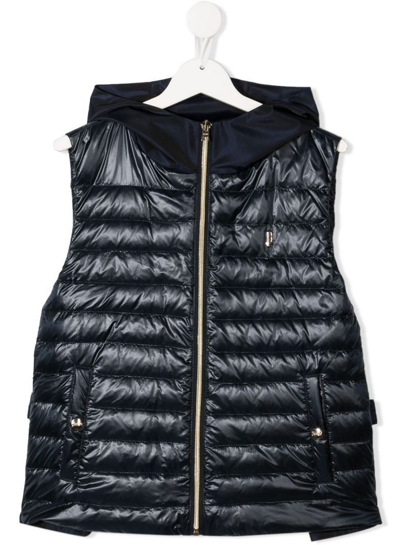 HERNO KIDS: logo-detailed nylon sleeveless down jacket Color Blue_1