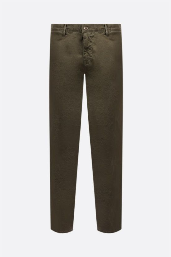 INCOTEX: Slacks stretch cotton pants Color Green_1