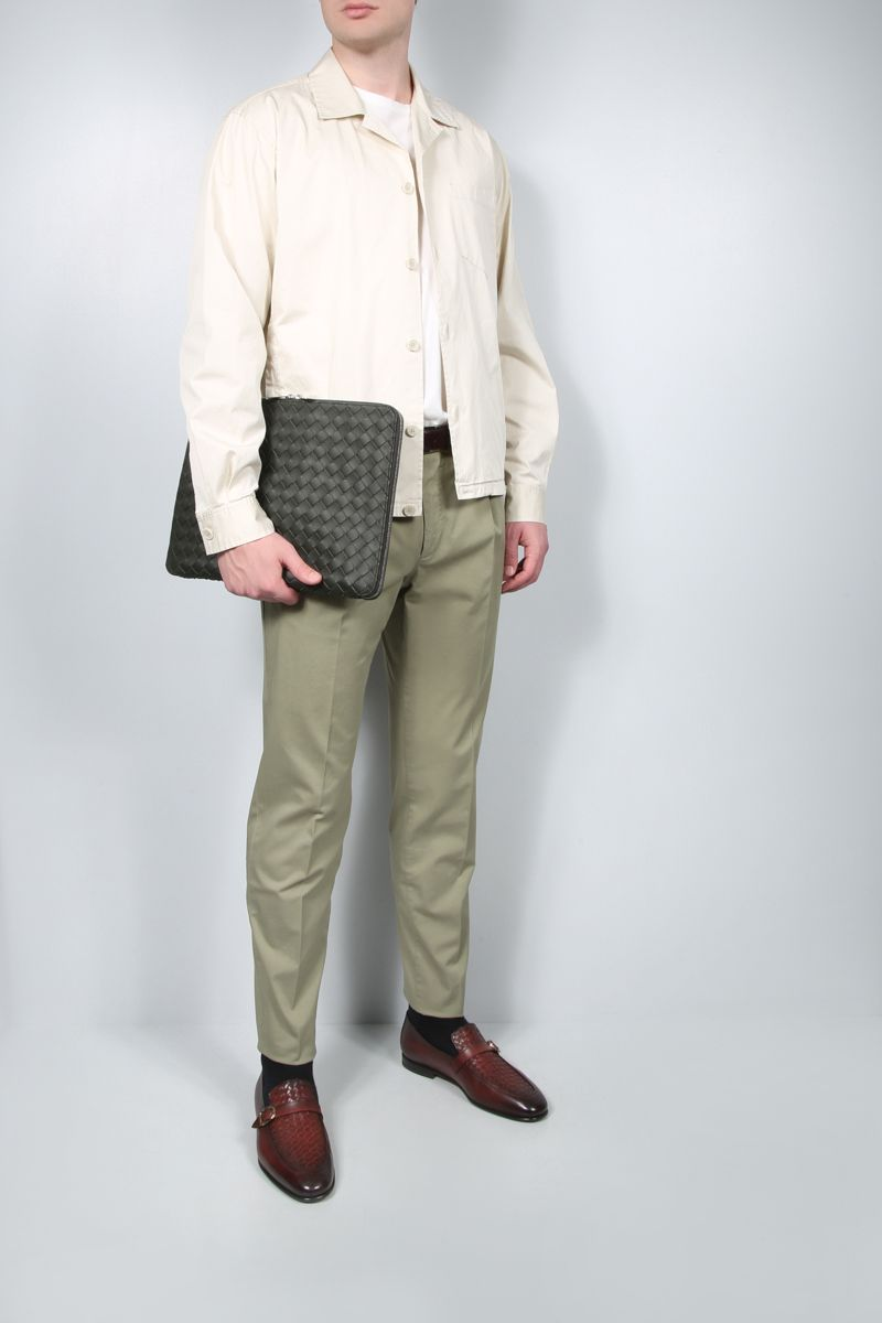 INCOTEX: tapered-fit stretch cotton pants Color Brown_2