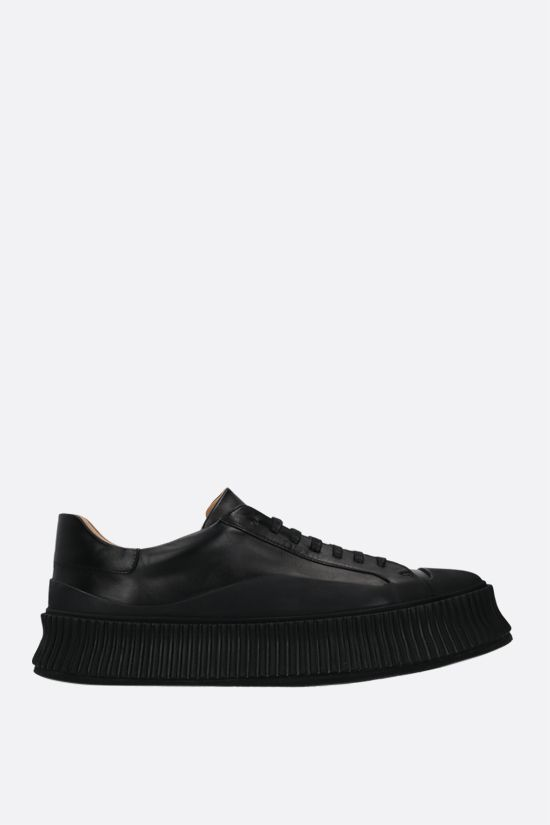 JIL SANDER: smooth leather and rubber low-top sneakers Color Black_1