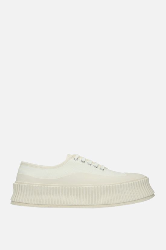 JIL SANDER: canvas and rubber low-top sneakers Color White_1