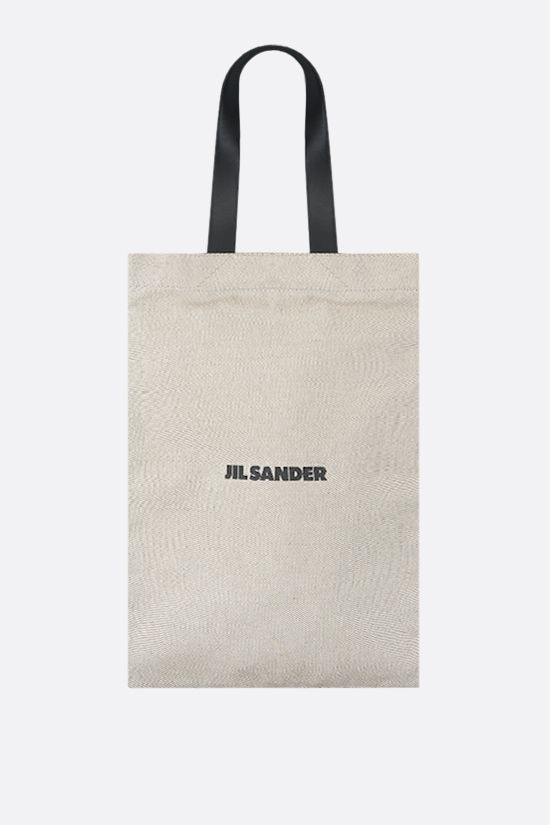 JIL SANDER: logo print canvas tote bag Color White_1