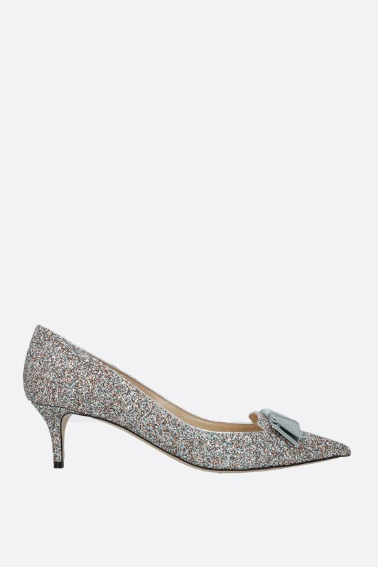 JIMMY CHOO: Ari glitter fabric pumps Color Silver_1