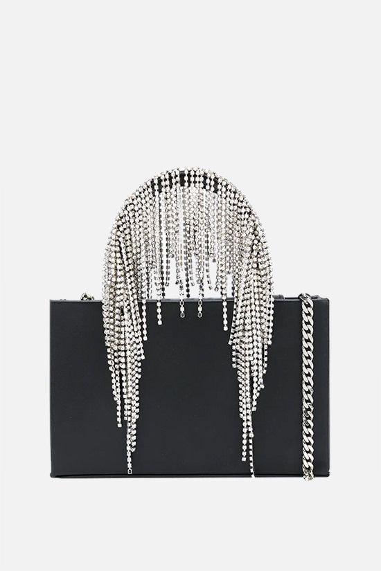 KARA: Midi Crystal Fringe nappa handbag Color Black_1