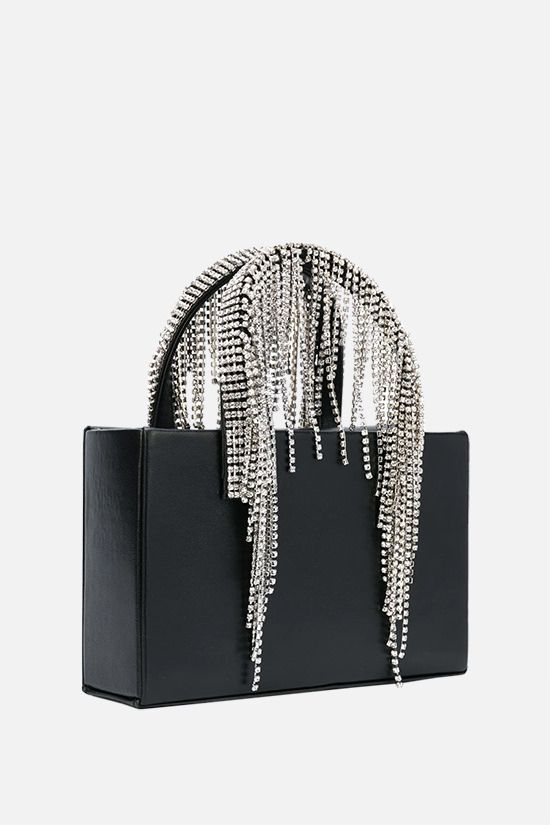KARA: Midi Crystal Fringe nappa handbag Color Black_2