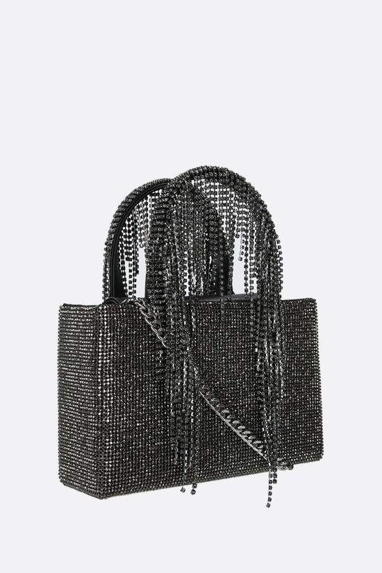 KARA: Fringe midi crystal mesh handbag Color Black_2
