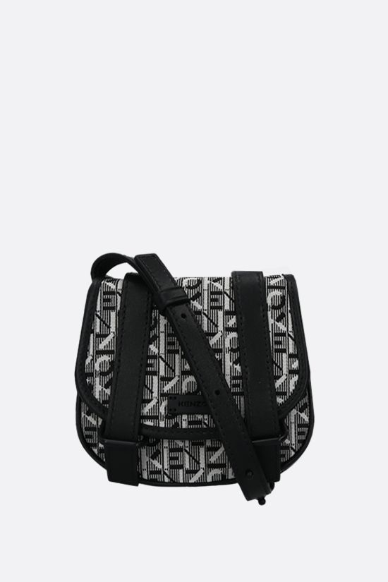 KENZO: Courier mini fabric and smooth leather messenger bag Color Grey_1