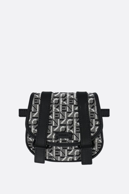 KENZO: Courier mini fabric and smooth leather messenger bag Color Grey_2