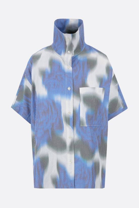 KENZO: floral print cotton blend bowling shirt Color Blue_1