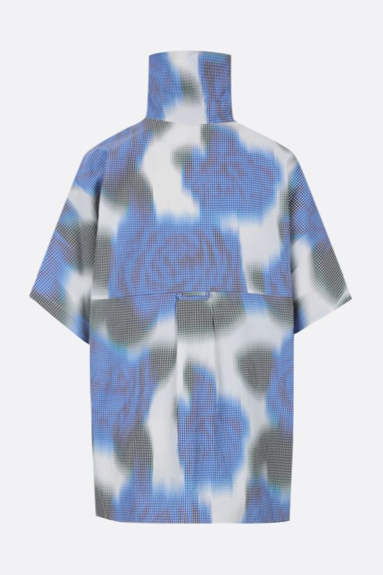 KENZO: floral print cotton blend bowling shirt Color Blue_2