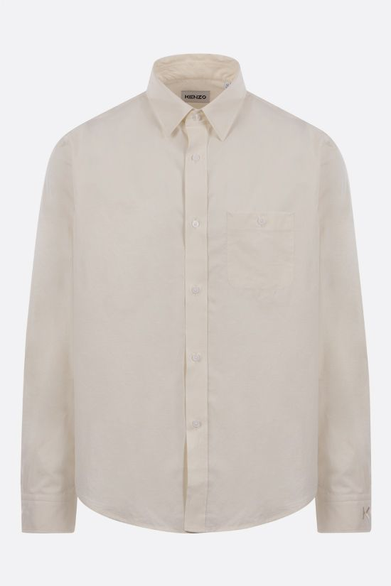 KENZO: K embroidered cotton shirt Color Neutral_1