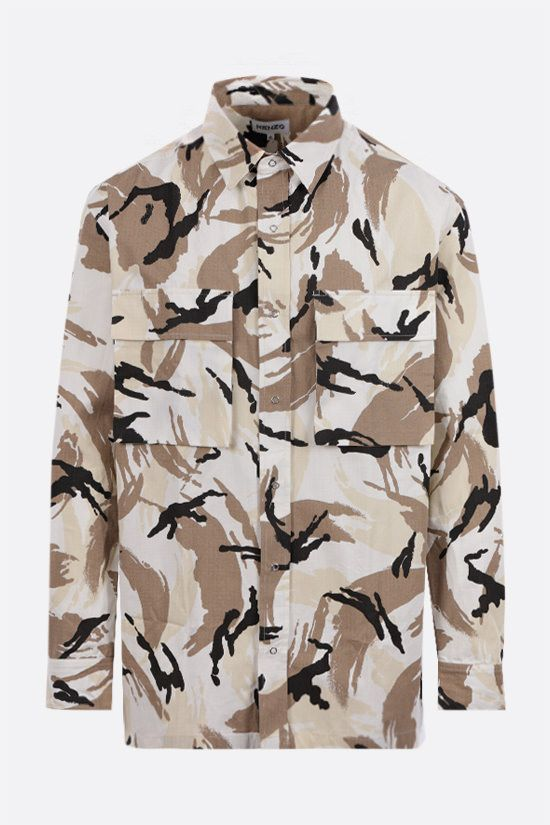 KENZO: Tropic Camo ripstop cotton overshirt Color White_1
