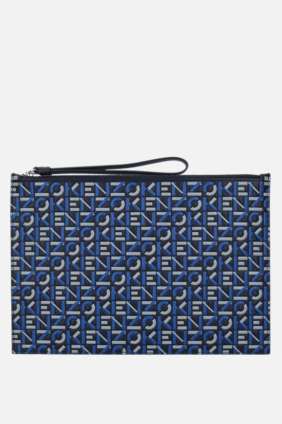 KENZO: Monogram large embossed leather pouch Color Blue_1