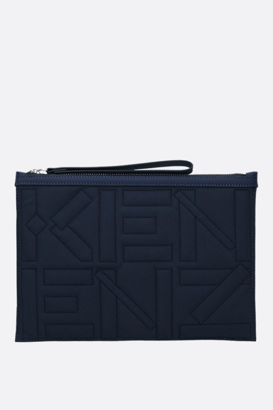 KENZO: quilted nylon large pouch Color Blue_1