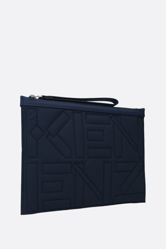 KENZO: quilted nylon large pouch Color Blue_2
