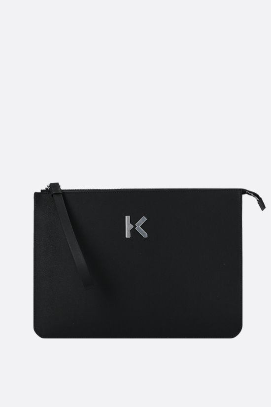 KENZO: logo-detailed smooth leather clutch Color Black_1