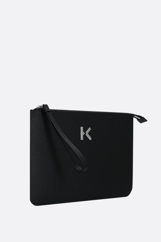 KENZO: logo-detailed smooth leather clutch Color Black_2