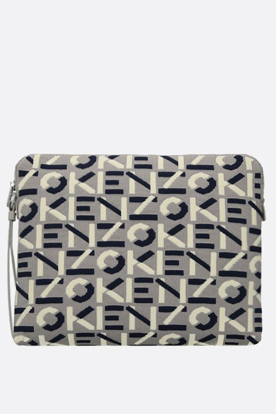 KENZO: Monogram large technical knit pouch Color Grey_1