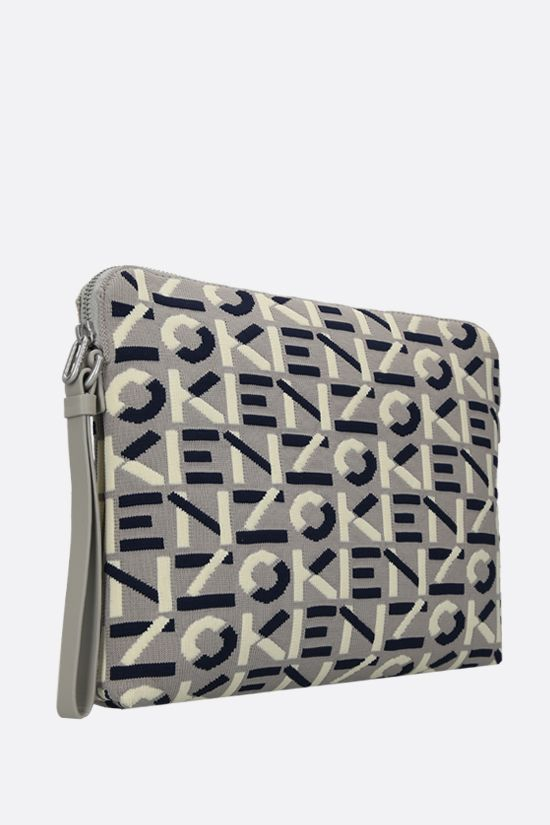 KENZO: Monogram large technical knit pouch Color Grey_2