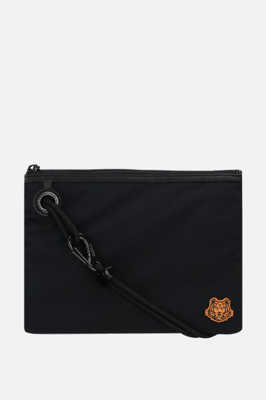 KENZO: Tiger Crest nylon clutch on strap Color Black_1