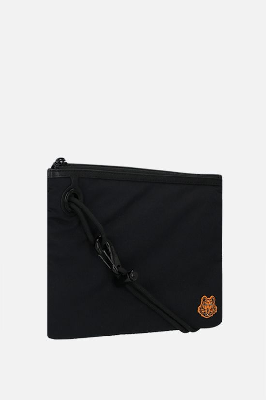 KENZO: Tiger Crest nylon clutch on strap Color Black_2