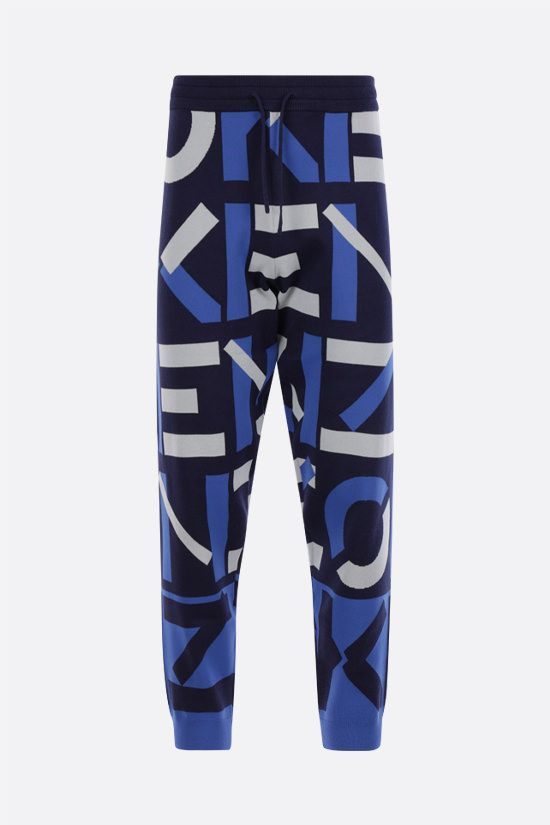 KENZO: Kenzo Sport Monogram cotton blend joggers Color Blue_1
